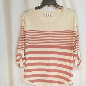 Pink Rose Striped 3/4 Sleeve Lightweight Sweater M